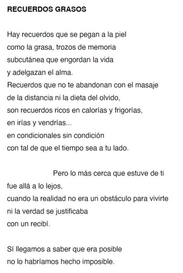 RECUERDOS GRASOS-Poema MLA